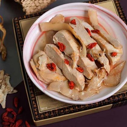 Salted Herbal Chicken Fillet (steam) 玉竹枸杞当归蒸鸡柳 (咸)  200gm±